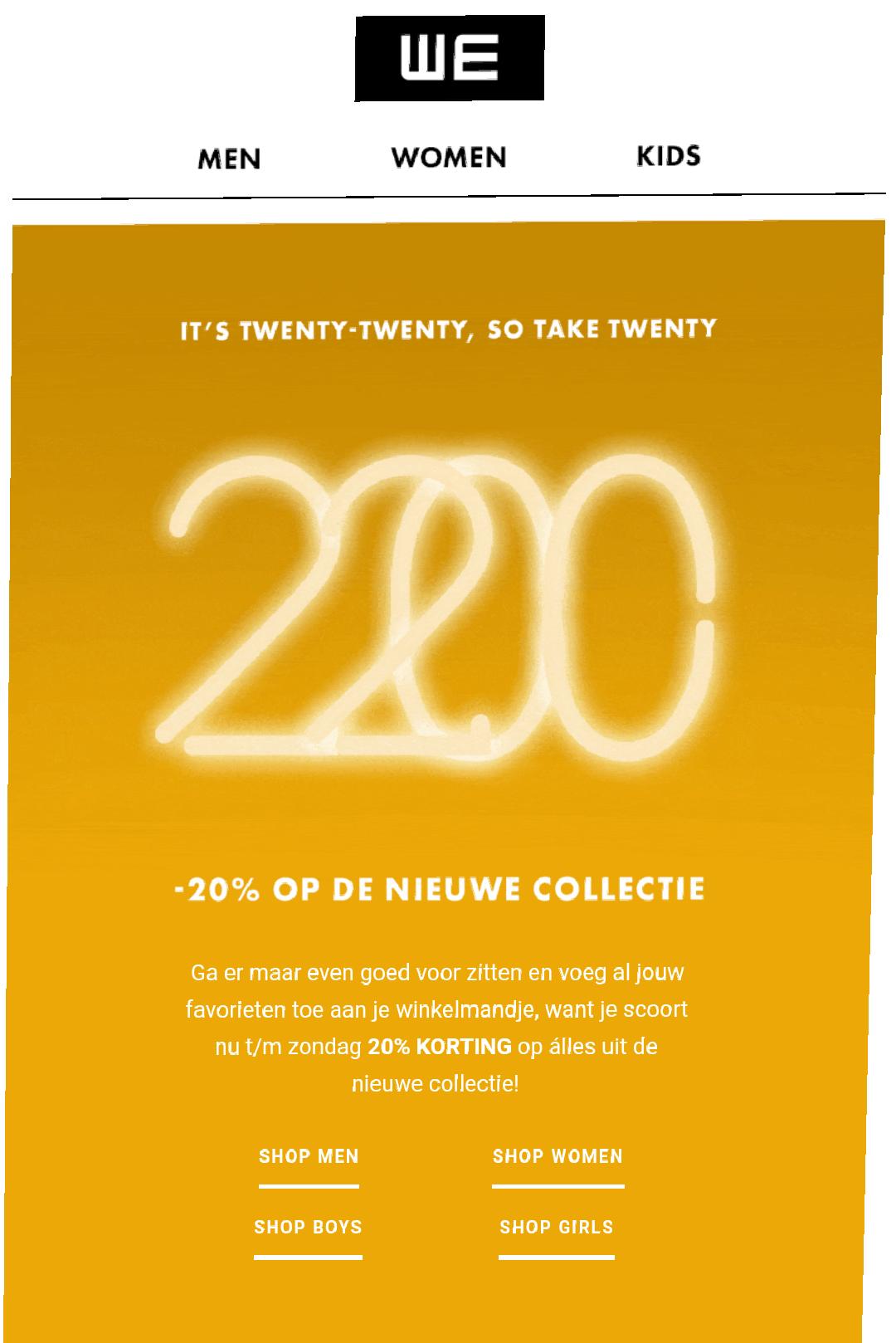 20 % korting op nieuwe collectie bij WE Fashion