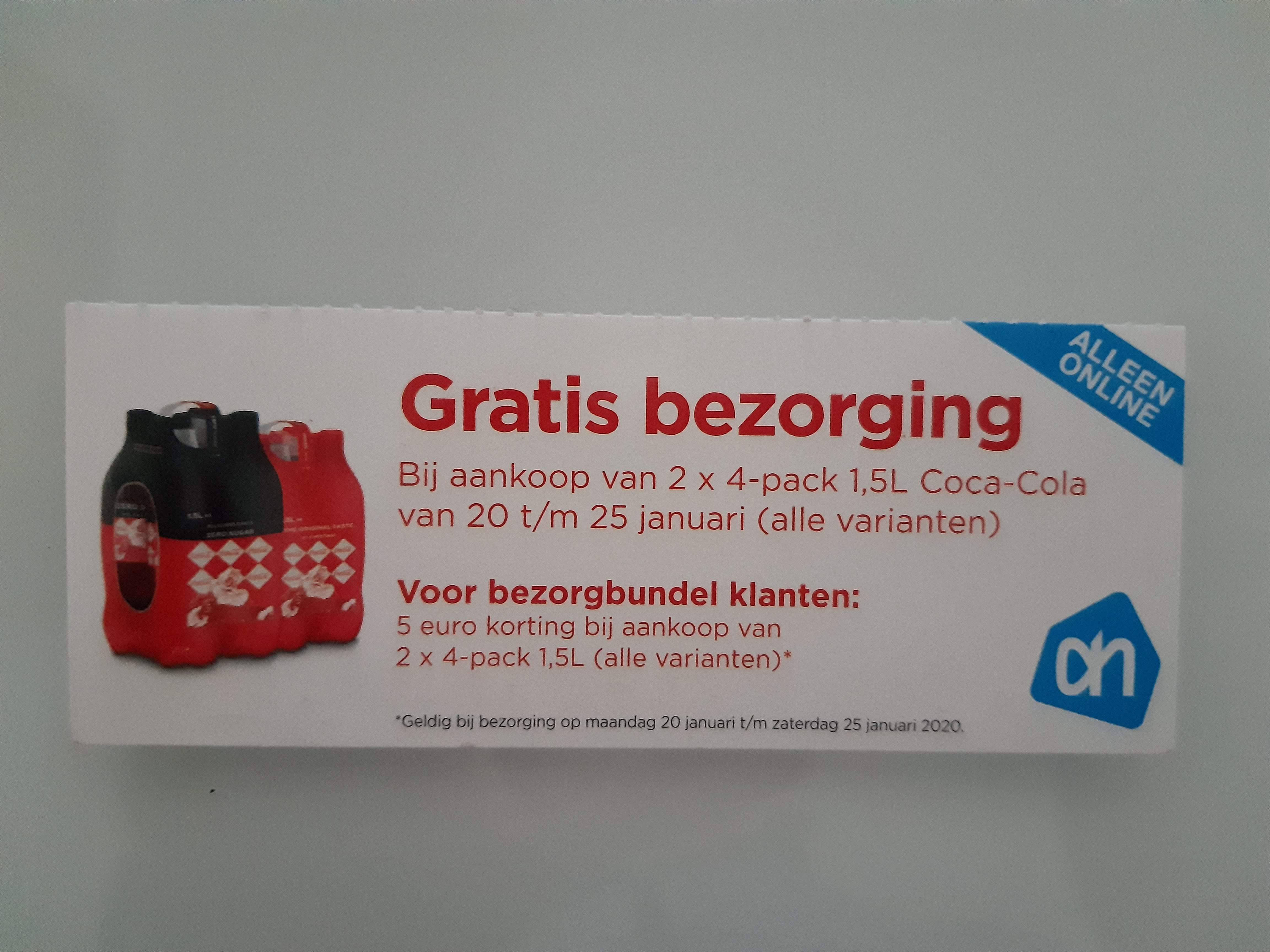 Online AH Boodschappen Coca-Cola Actie - Gratis verzending of EUR5 Korting