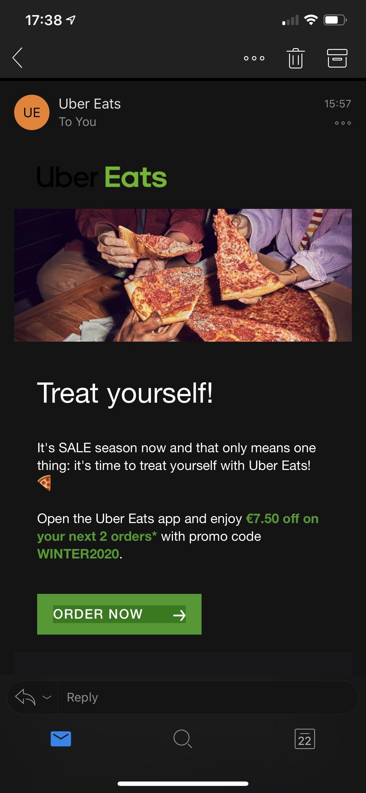 2x €7,50 korting bij besteding van €15 bij UBER Eats, ook voor bestaande klanten