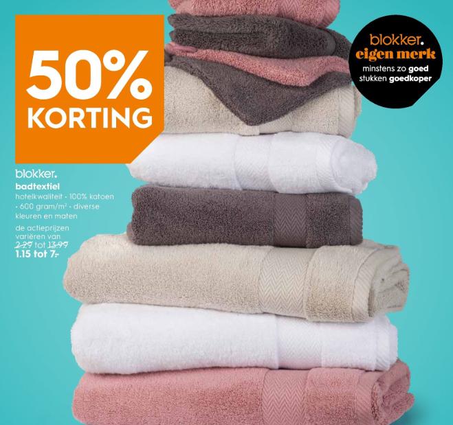 [vanaf maandag] 50% korting op Blokker badtextiel 600 grams @ Blokker winkels