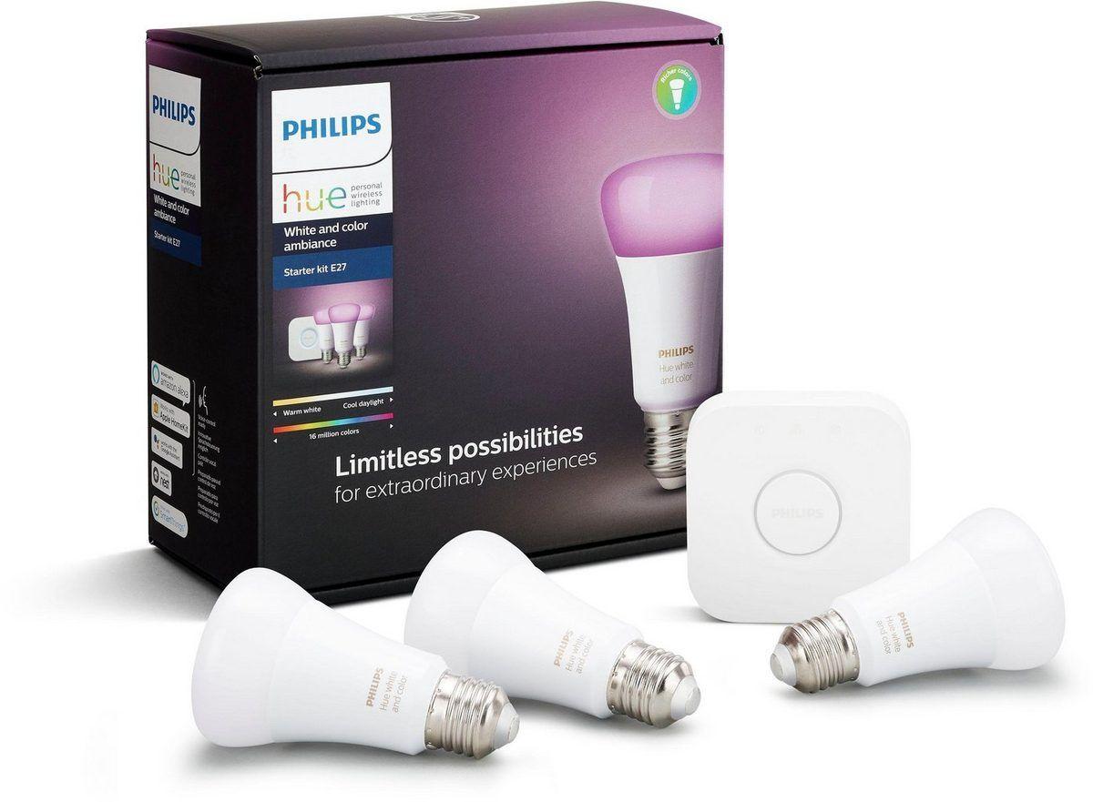[Grensdeal] Philips Hue E27 starterset met 3 white en color lampen