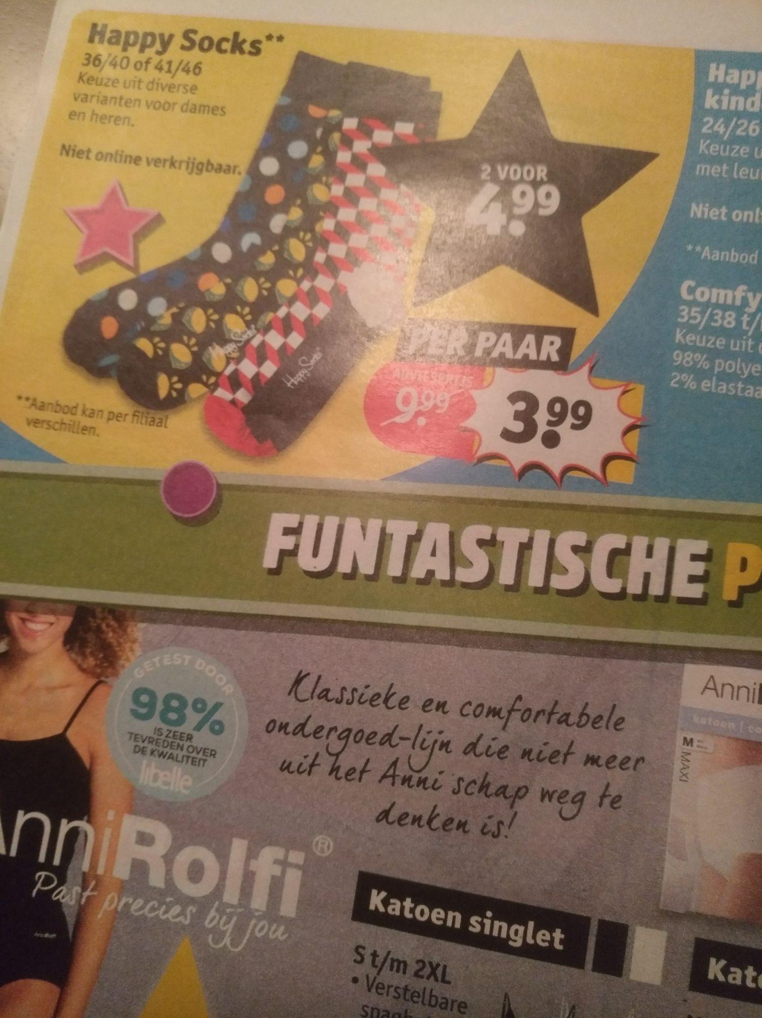 Happy socks 2 paar voor €4,99 bij Kruidvat