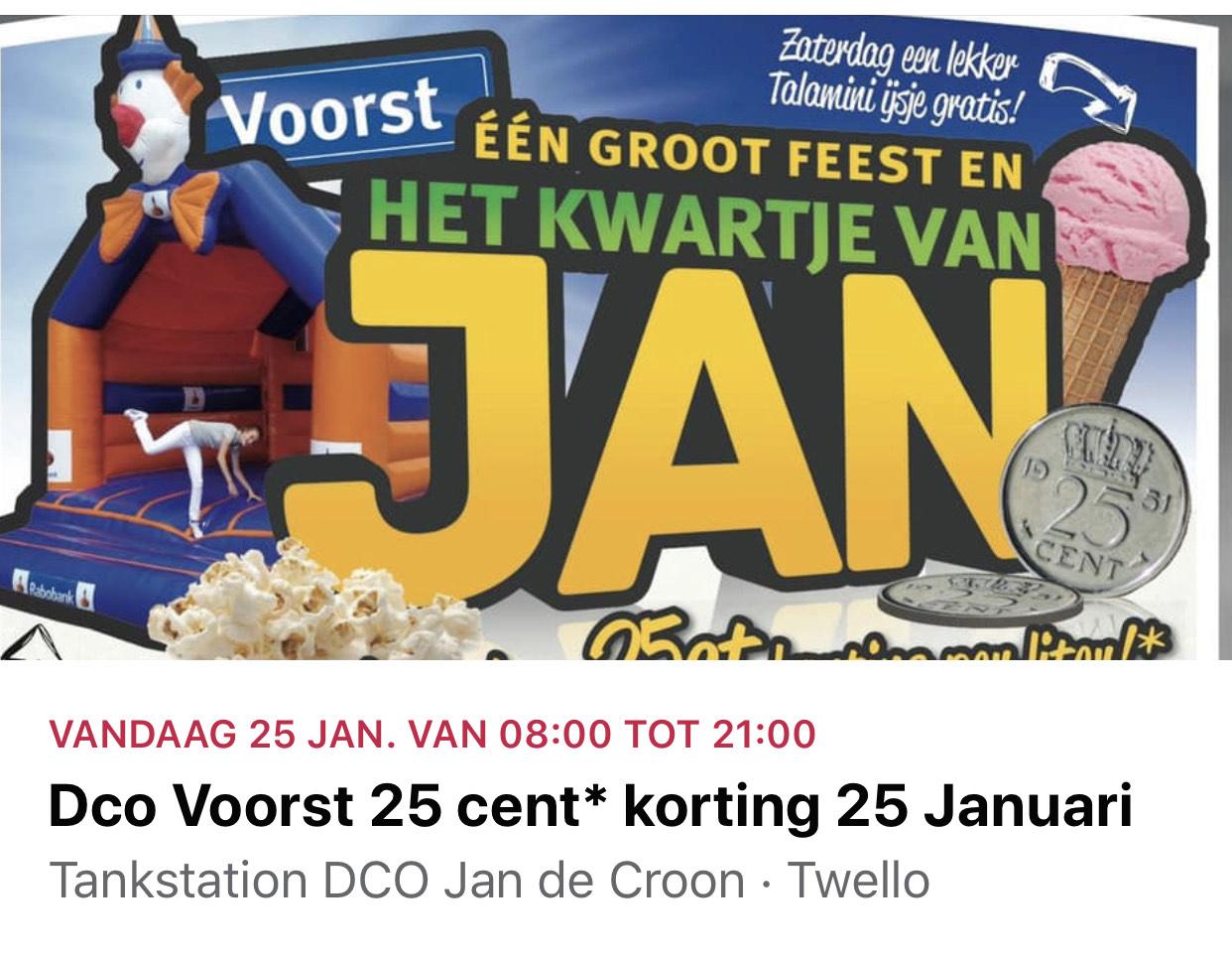 Vandaag! VOORST Brandstof korting €0,25 p.l. Op adviesprijs