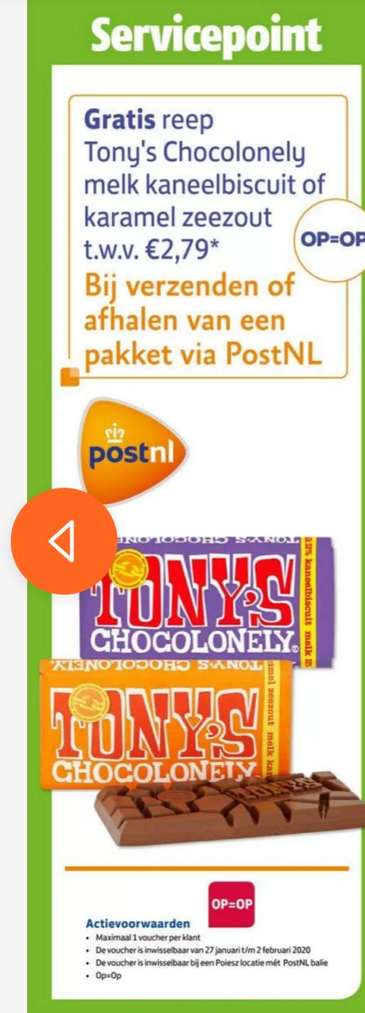 Gratis Tony's Chocolonely bij ophalen of verzenden van pakket bij Poiesz