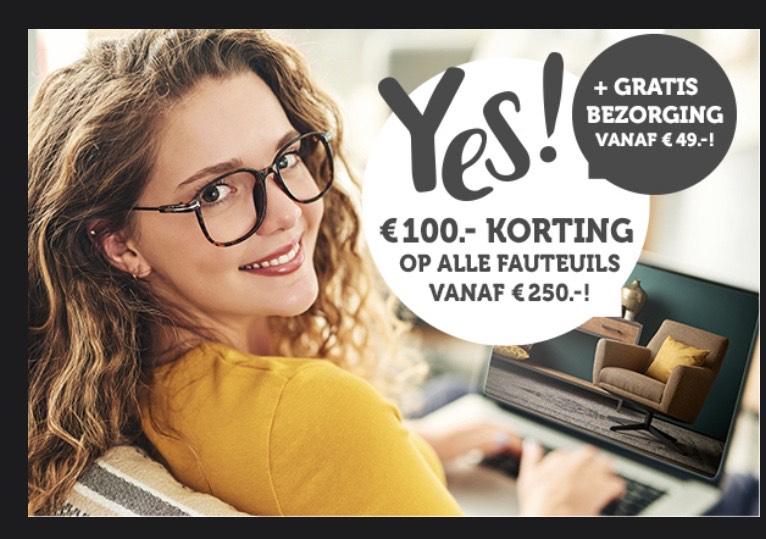 Woonexpress - Alléén vanavond: €100,- korting op alle fauteuils vanaf €250,-