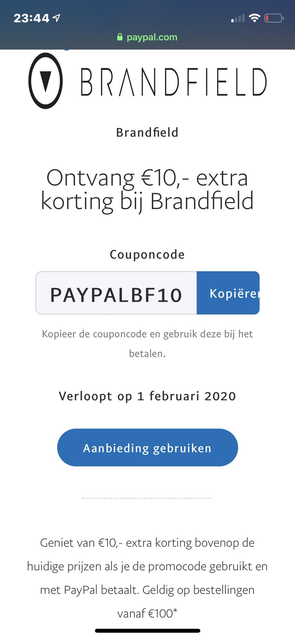 10 euro korting bij brandfield vanaf €100 + armband