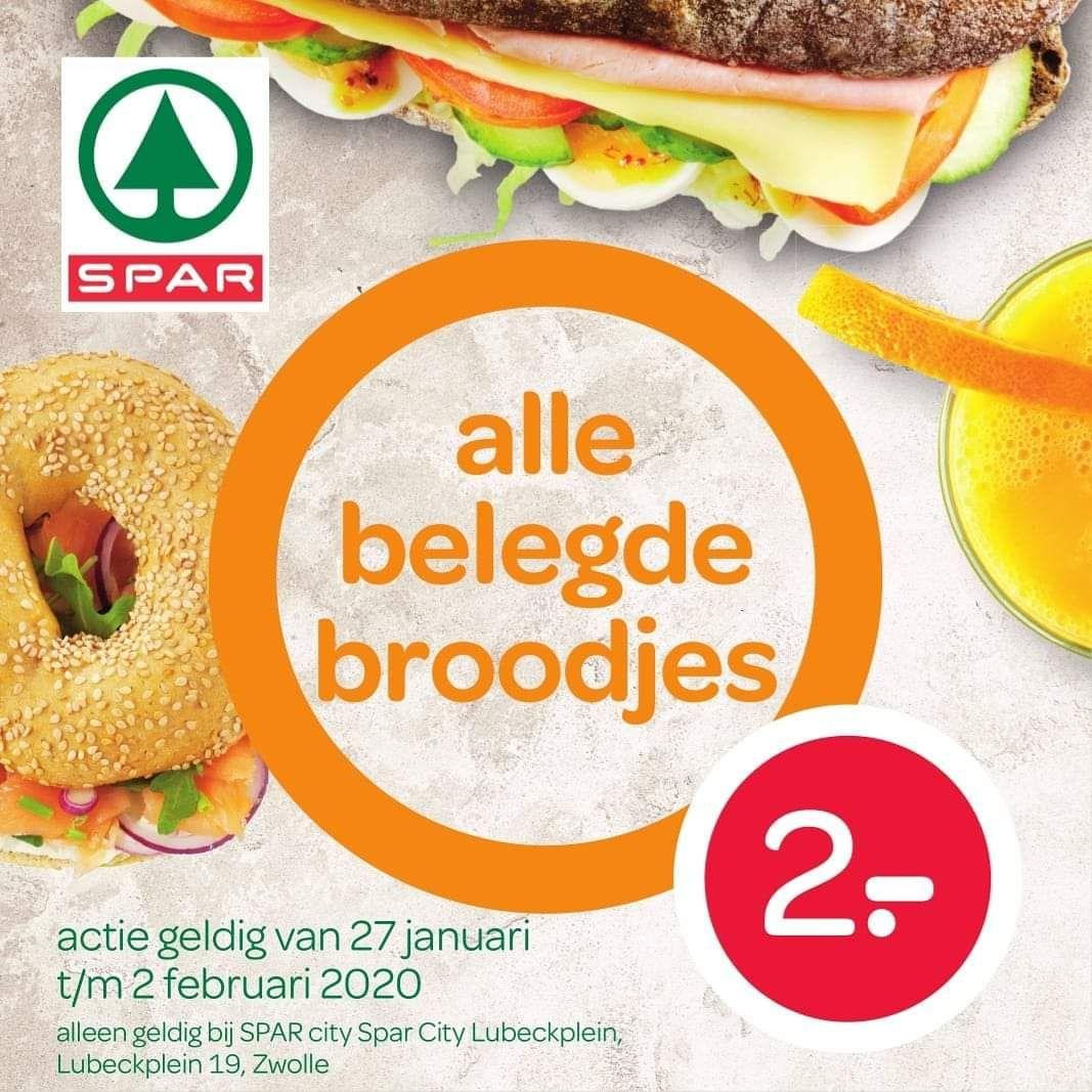 [Station Zwolle] Alle belegde broodjes €2 bij Spar City Lübeckplein