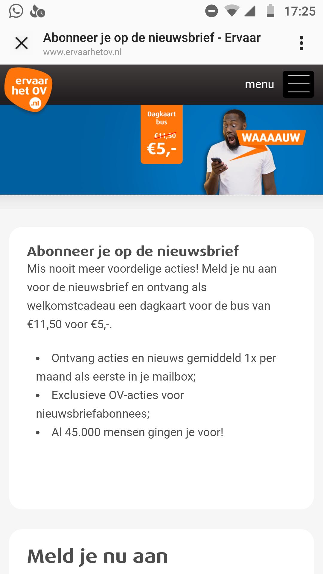 Dagkaart voor de bus €5 bij aanmelden nieuwsbrief