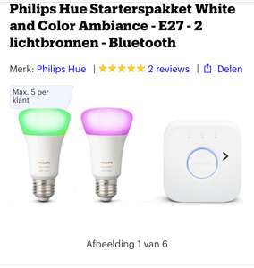 Philips Hue Starterspakket White and Color Ambiance - E27 - 2 lichtbronnen - Bluetooth
