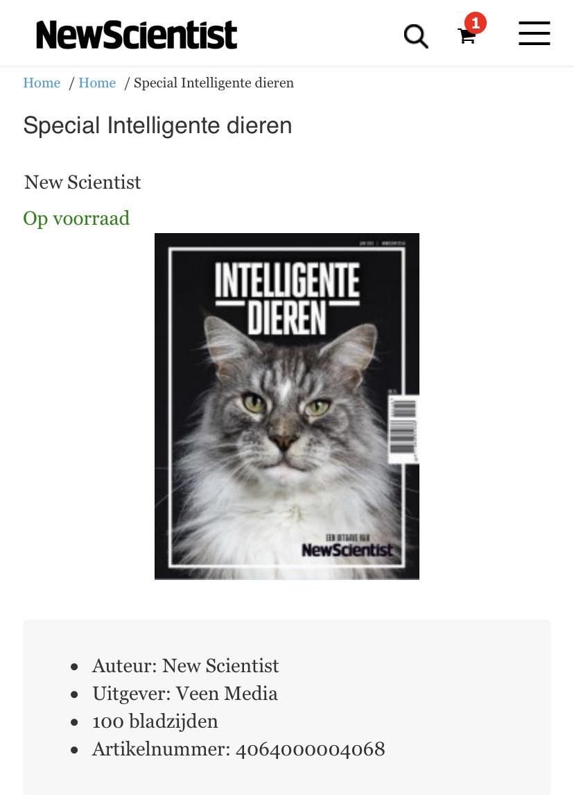 Gratis magazine Special Intelligente dieren van New Scientist (t.w.v. €8,75)