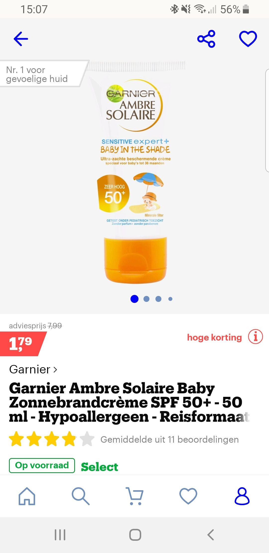Ganier ambre solaire baby