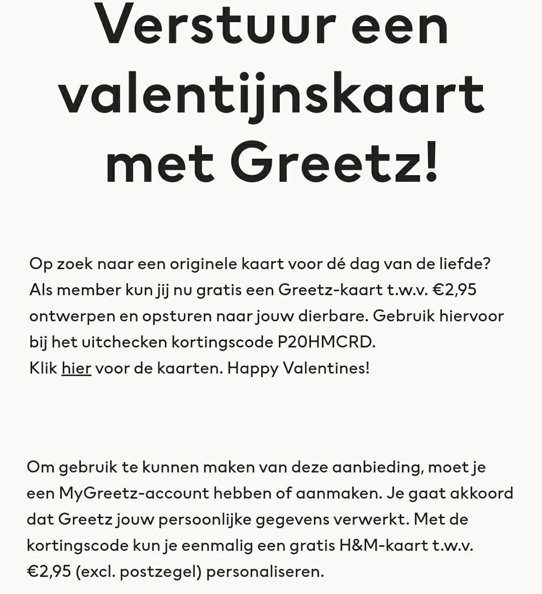 Verstuur gratis een valentijnskaart met Greetz t.w.v. €2,95 (excl. postzegel)
