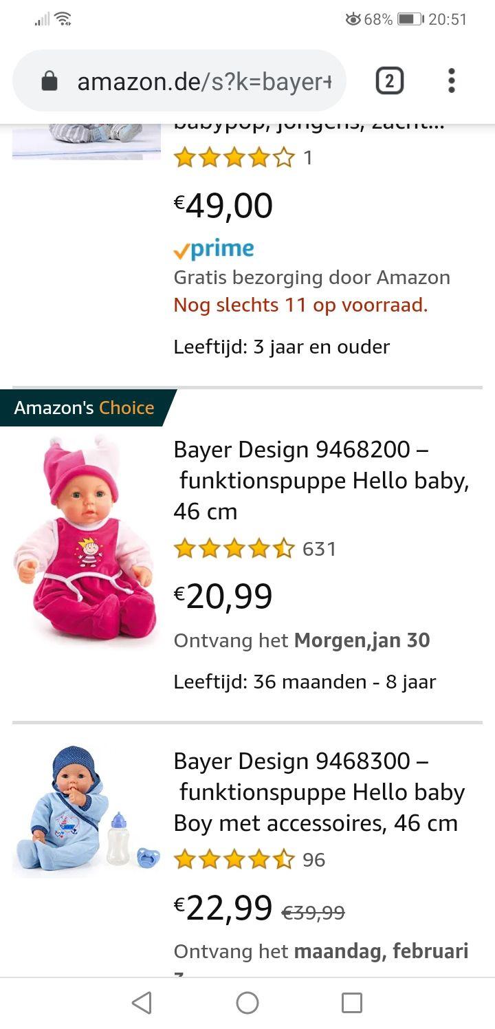 Bayer babypop met levensechte functies.
