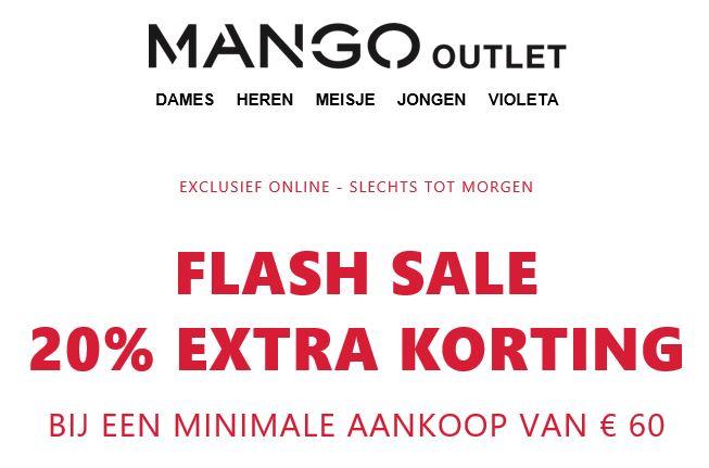 Met code 20% EXTRA korting (va €60) @ Mango Outlet