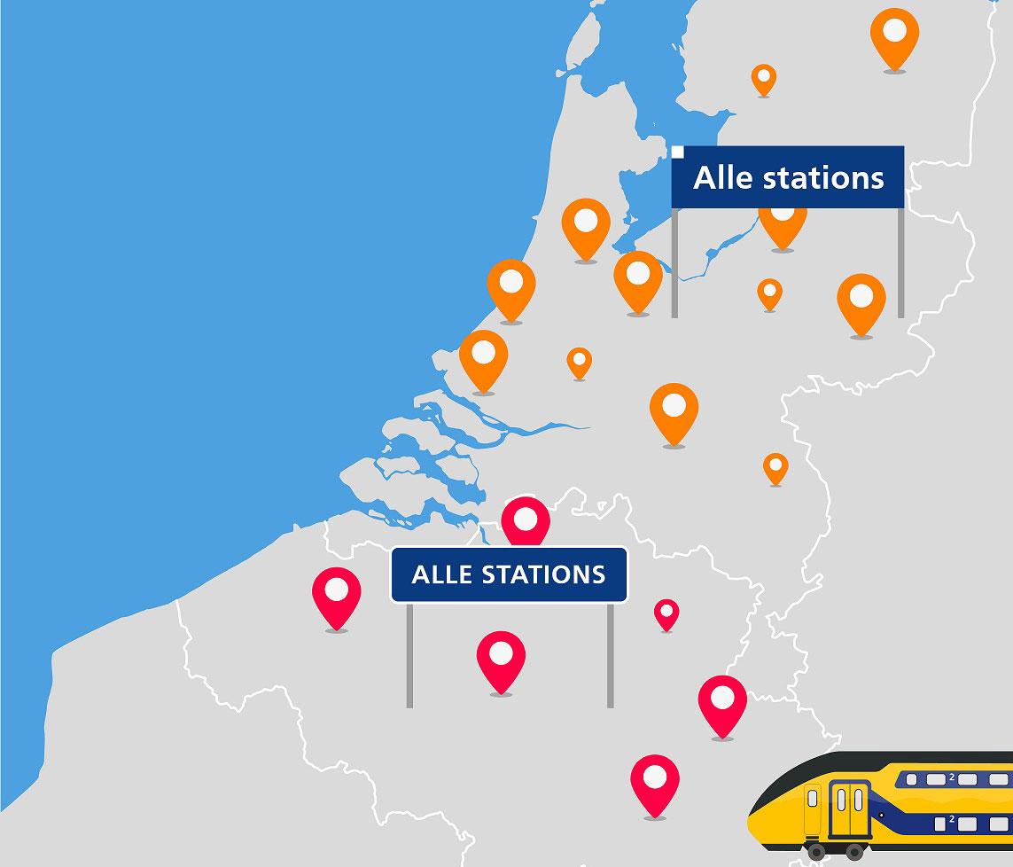 NED <--> BE per trein 2e klas: € 29 enkele reis voor 2 personen