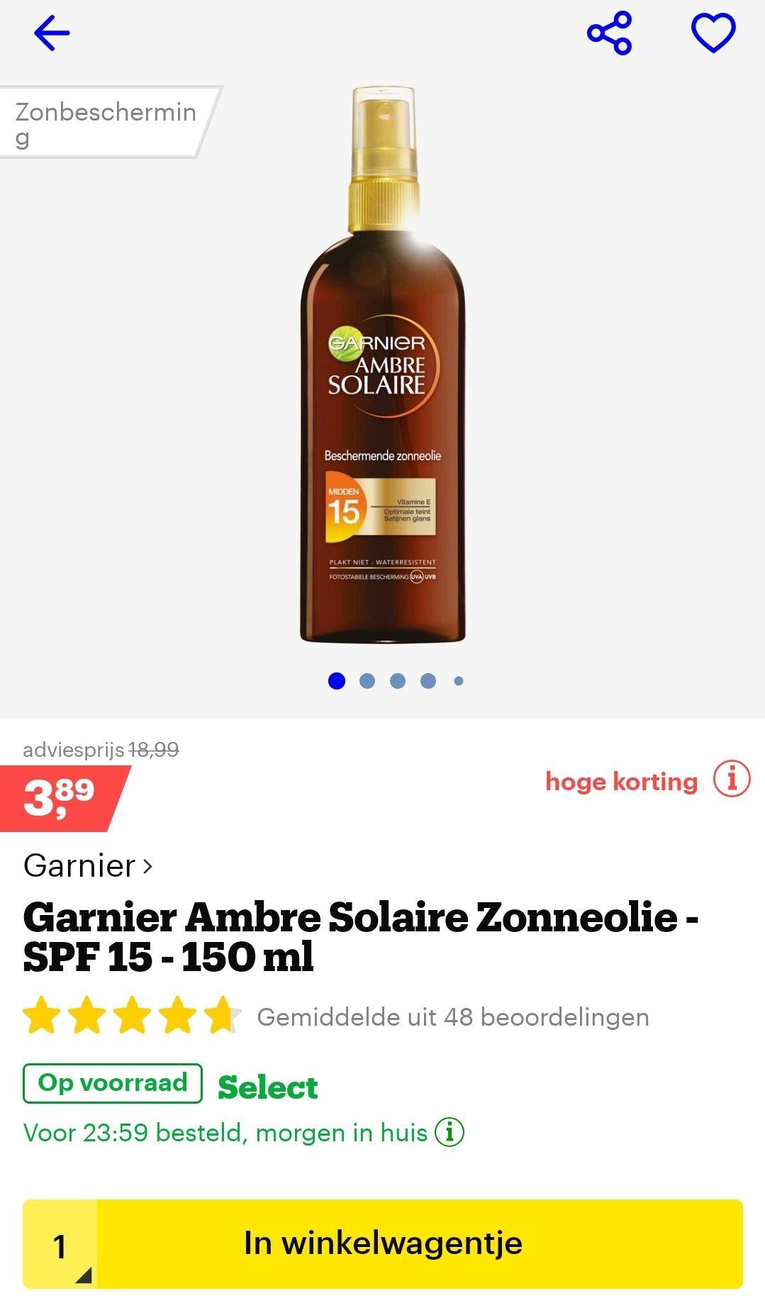 Garnier ambre solaire zonneolie SPF15