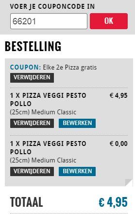 2e pizza gratis en/of 2e pizza €2