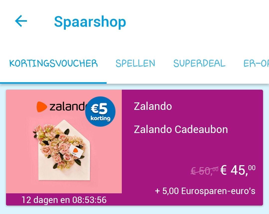 Eurosparen; cadeaubon van Zalando t.w.v. € 50,- voor € 45,-