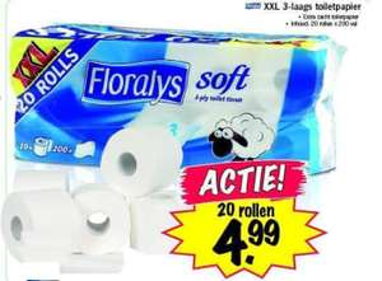 20 rollen 3-laags extra zacht en sterk Floralys toiletpapier @Lidl