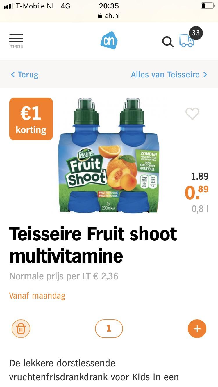 Teisseire Fruit shoot fruitdrank 4-pak €0,89 | ah