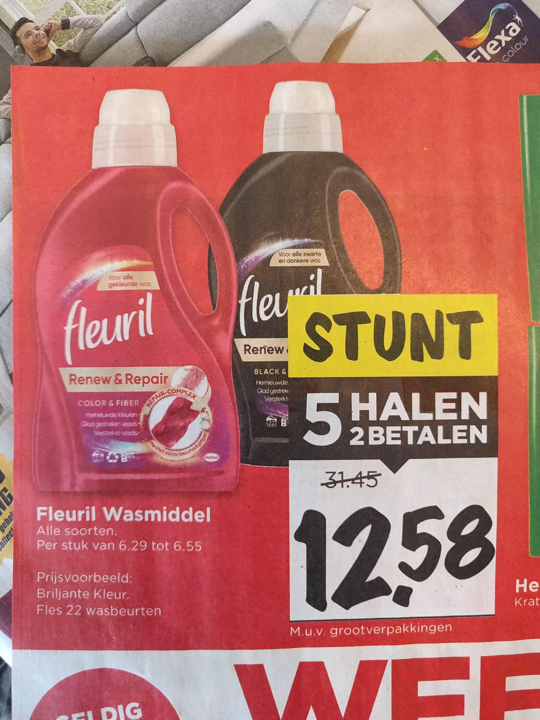 Fleuril wasmiddel 5 halen 2 betalen! @Vomar