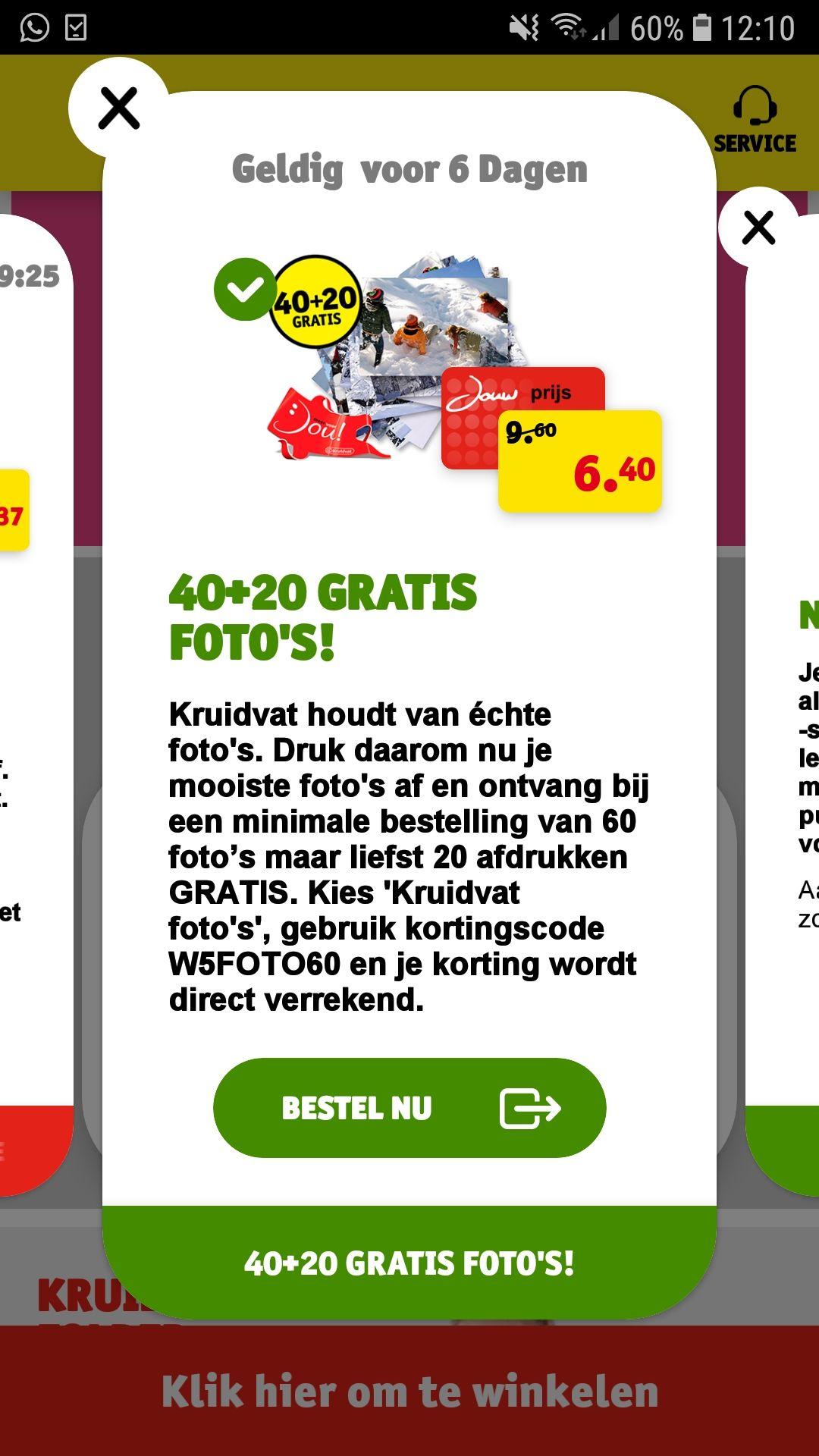 40 + 20 gratis foto's printen op Kruidvat.nl