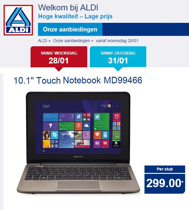 Medion 10,1 Touchscreen MD 99466 netbook, met Office 2013 van €299 voor €165,-