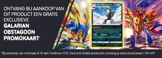 Gratis Galarian Obstagoon kaart bij aankoop van min. €10 aan Pokémon TCG: Sword & Shield producten.