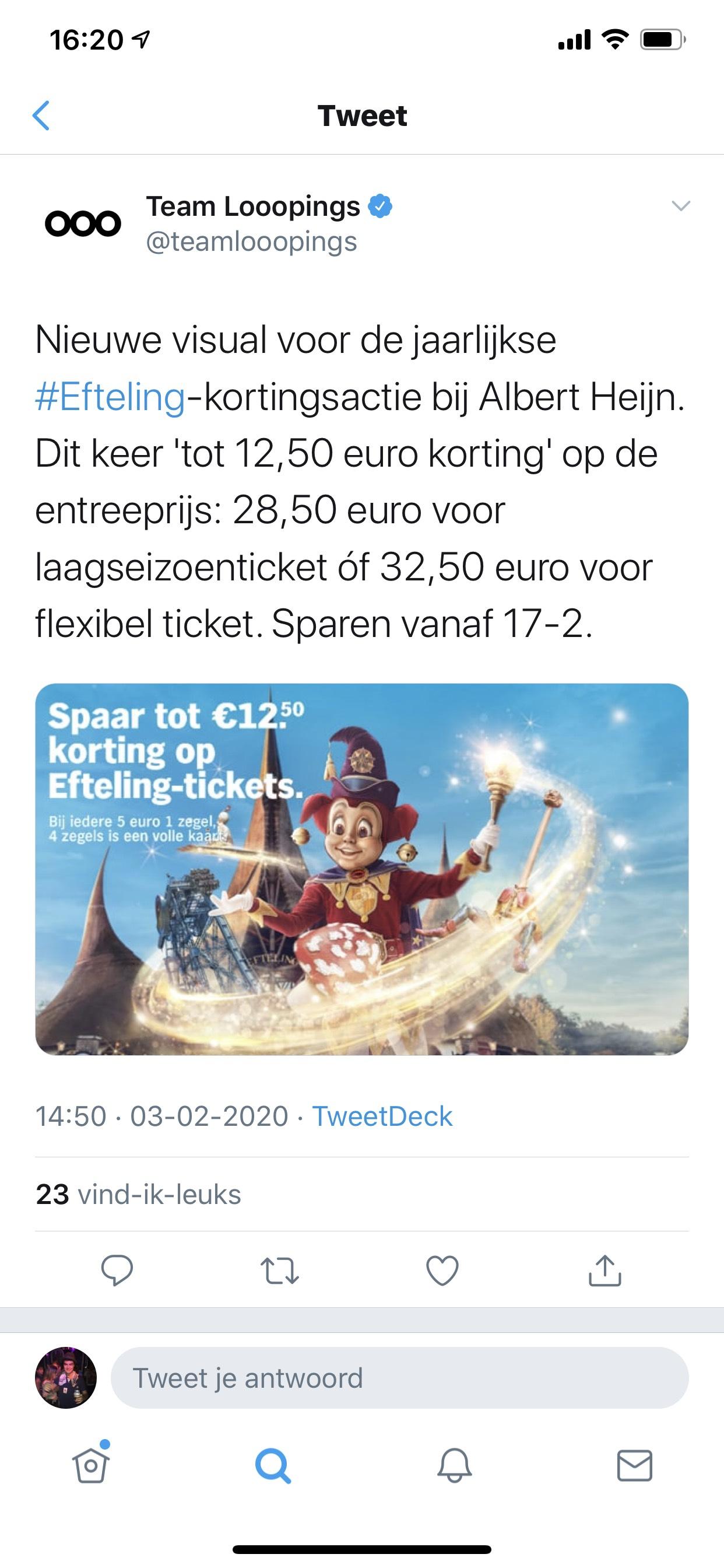 Efteling tickets, tot 12,50 korting bij Albert Heijn