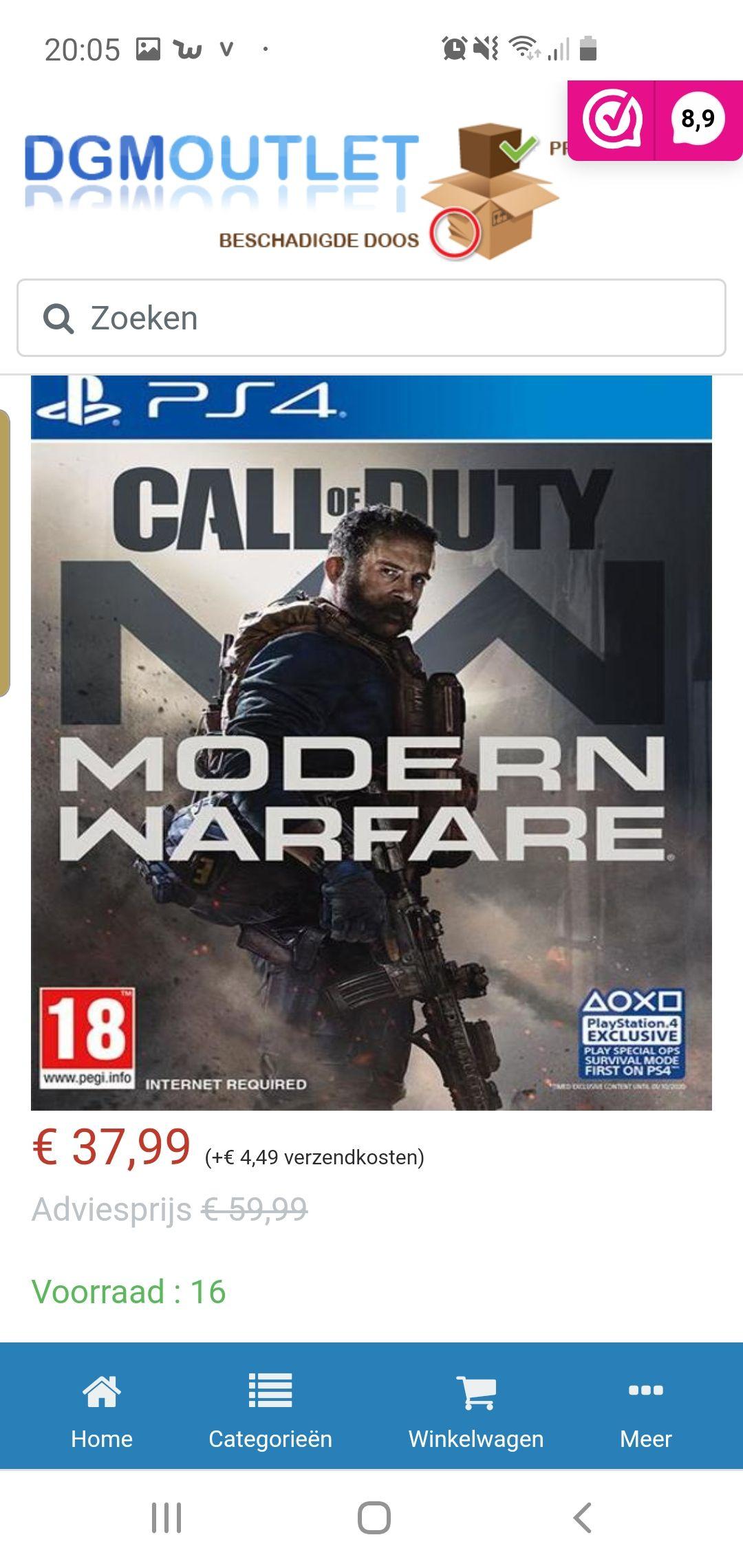 Call of duty modern warfare voor de playstation 4
