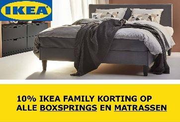 10% IKEA FAMILY korting op alle (baby)matrassen, boxsprings en (dek) matrassen