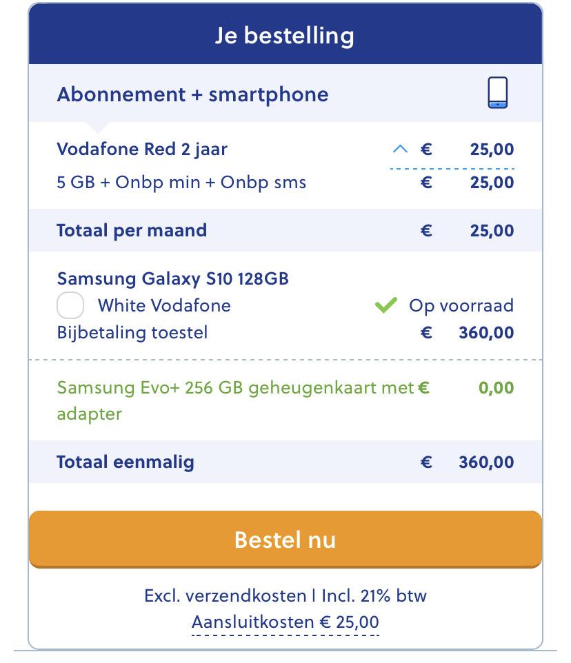 S10 icm Vodafone + 256gb SD kaart