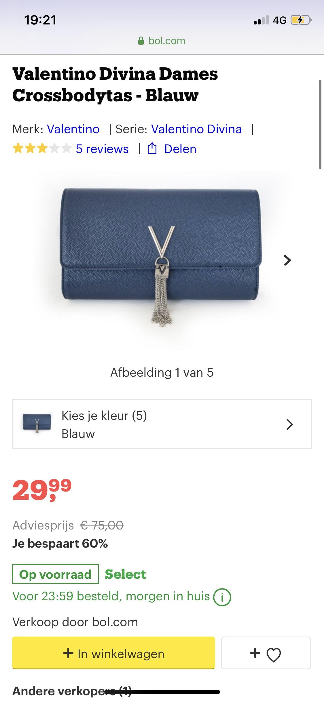 Valentino Divina Dames Crossbodytas - Blauw @ Bol.com