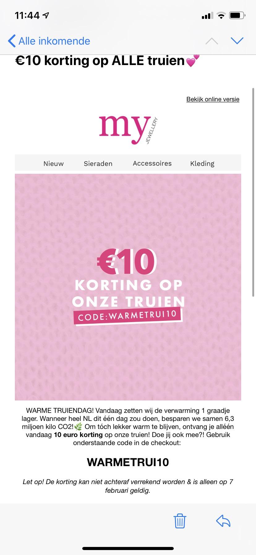 -10 euro korting op truien bij My Jewellery