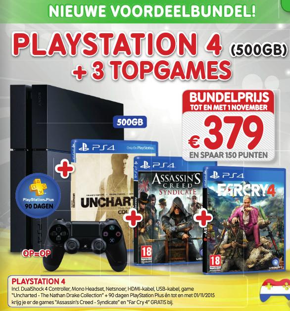 Nieuwe PS4 500GB voordeelbundel (Uncharted, AC: Syndicate, Far Cry 4 en  90 dagen PSPlus voor €379 @ Game Mania