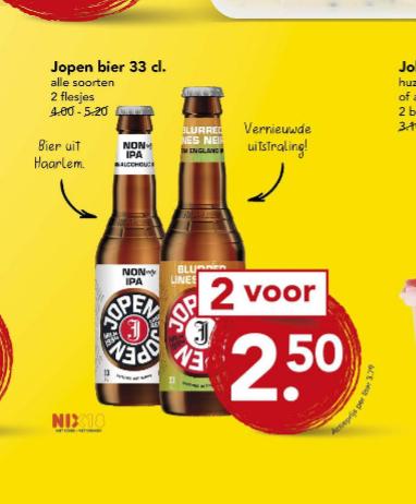 2 flesjes Jopen 330ml voor €2,50 bij Deen