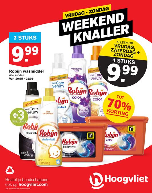 Robijn wasmiddel weekendknaller 4 voor €9,99 bij Hoogvliet op 14, 15 en 16 febr.