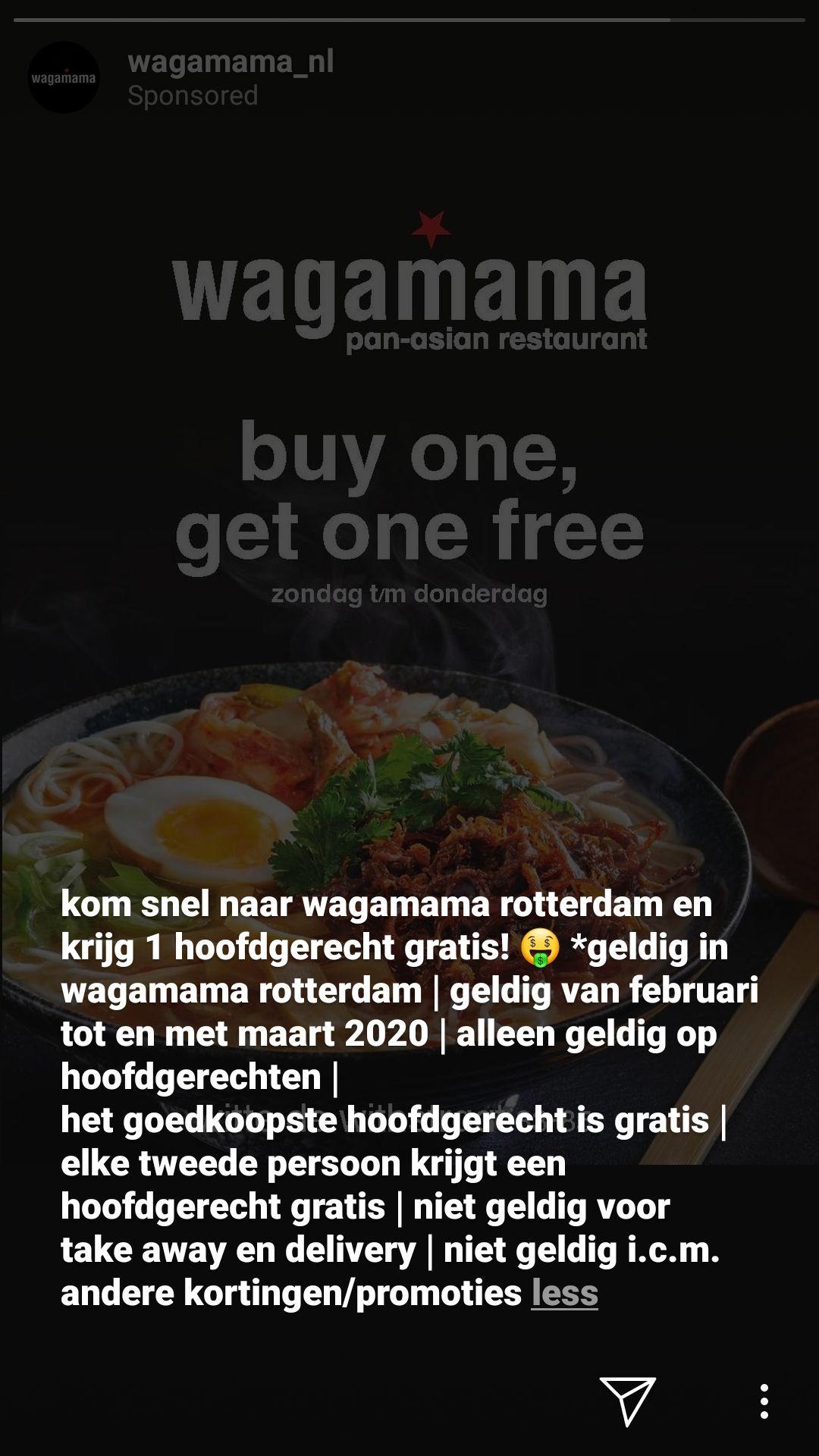 [Lokaal] Wagamama Rotterdam buy one get one free hoofdgerechten (zo-do)