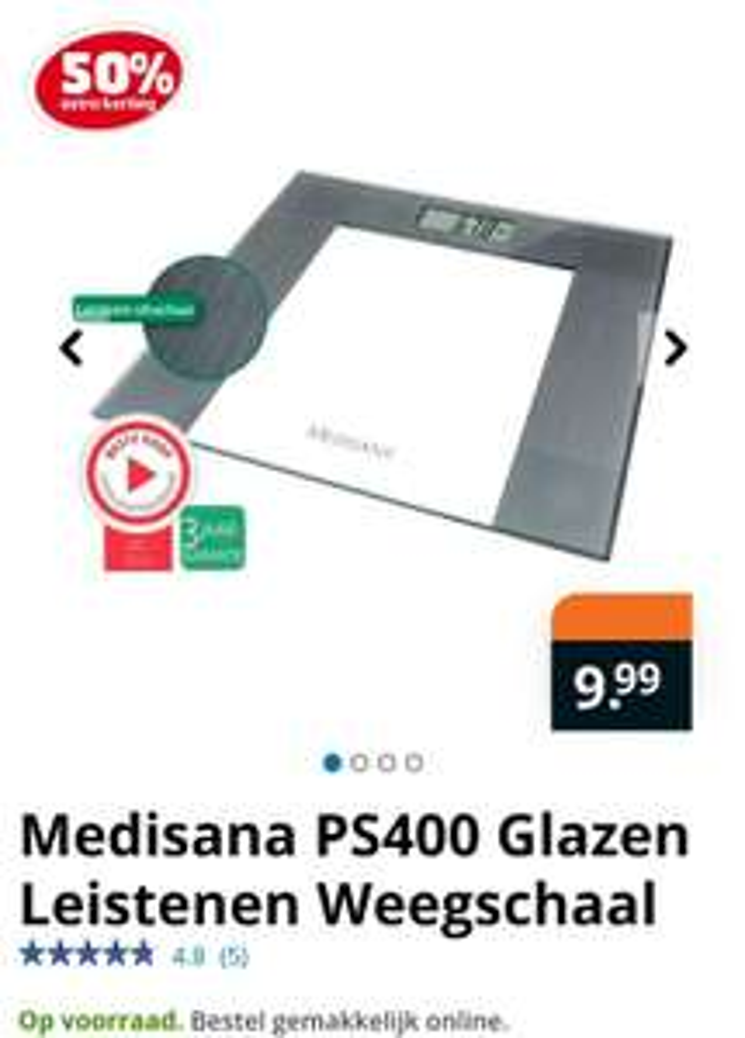 Medisana PS400 Glazen Leistenen Weegschaal nu 4.99