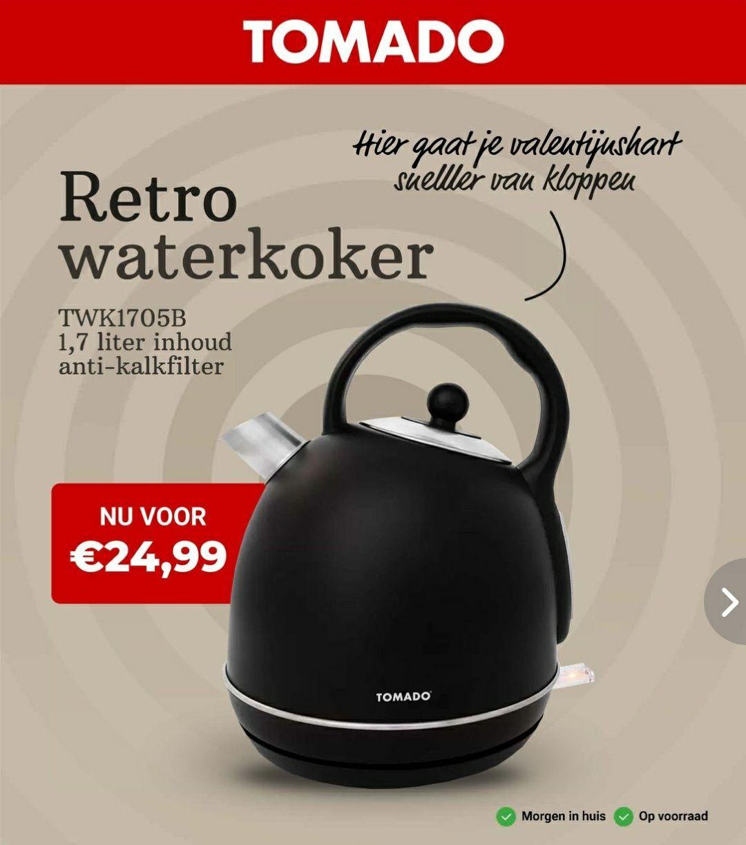 Tomado.com - Mooie retro waterkoker van €31,75 voor €24,99, gratis verzending & retourneren