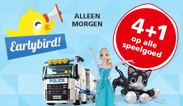Alleen Morgen Early Bird Actie met 4+1 gratis op alle speelgoed @ Intertoys