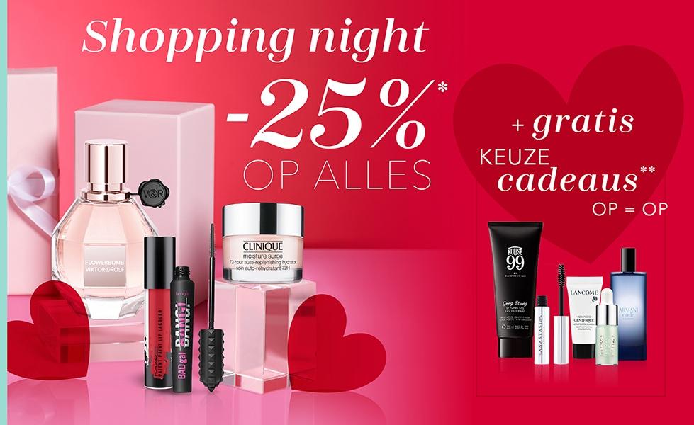Va 18u: Shopping Night: 25% korting + gratis 1-3 cadeaus @ Douglas
