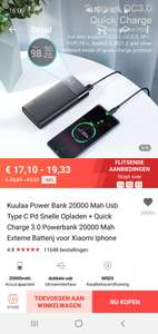 Kuulaa Power Bank 20000 Mah Usb Type C Pd Snelle Opladen + Quick Charge 3.0 Powerbank 20000 Mah Externe Batterij