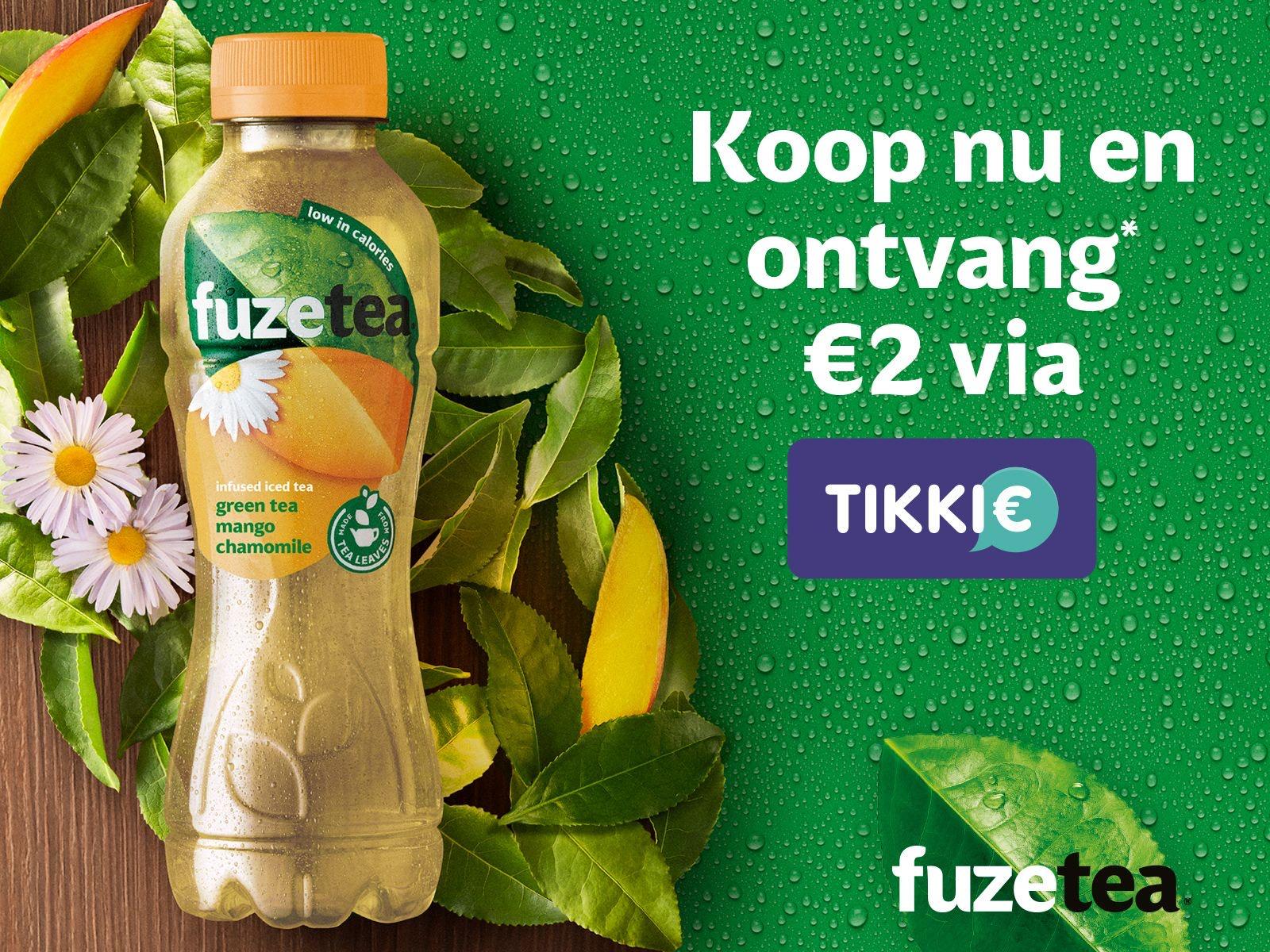 (Gratis geld) 2€ terug bij aankoop flesje Fuze tea