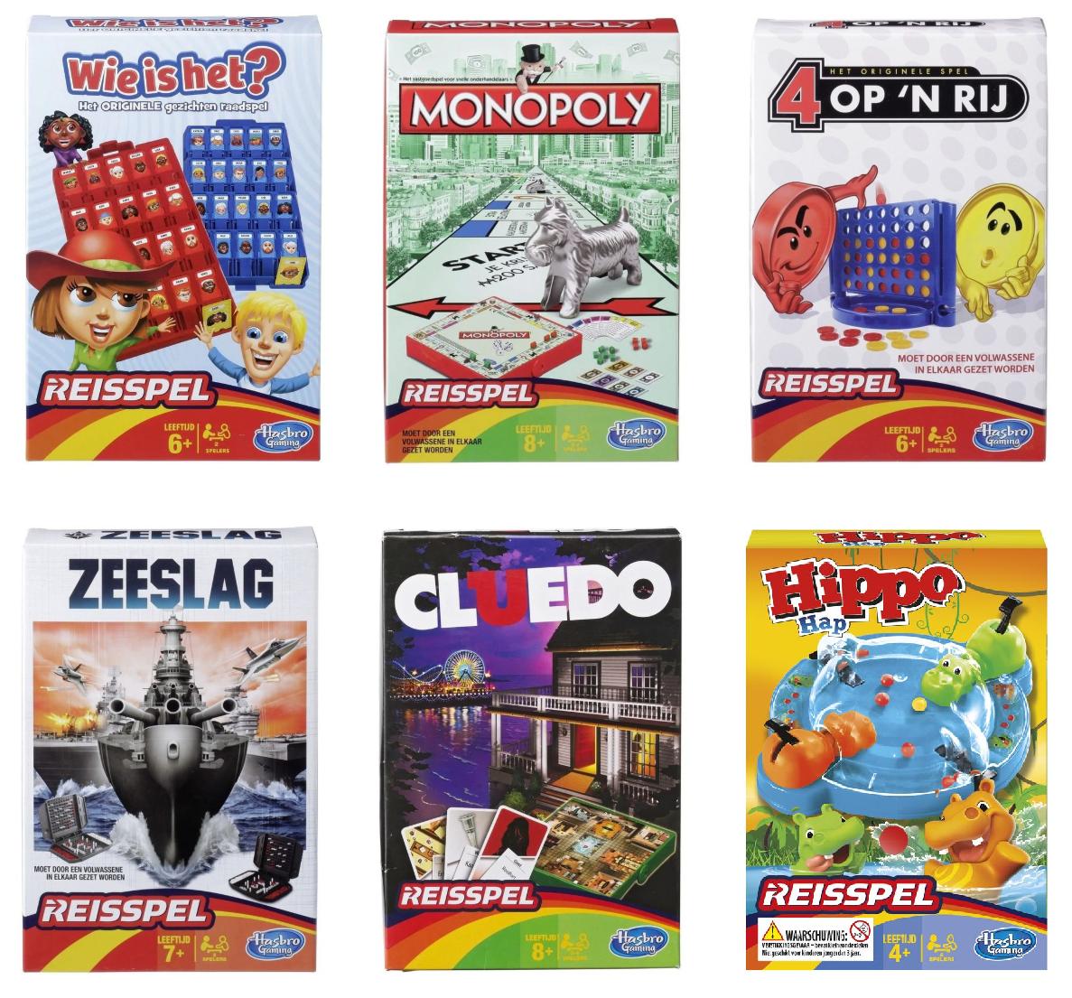Reisspellen (Wie is het?, Monopoly, 4 op 'n Rij, Zeeslag, Cluedo, Hippo Hap) €3,99 @ Trekpleister
