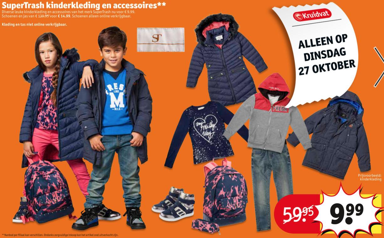 Supertrash kinderkleding voor €9,99 / schoenen voor €14,99 @ Kruidvat (27 oktober)