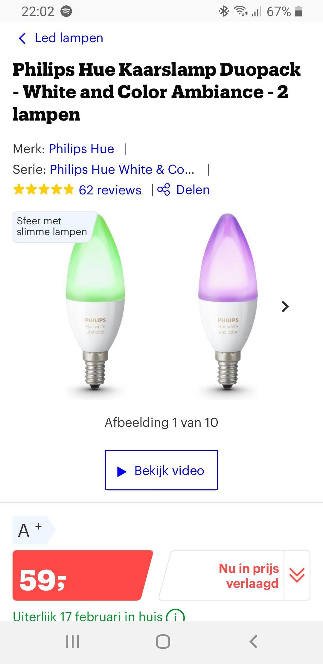 Hue white & color e14 duopack @Bol.com via externe verkoper