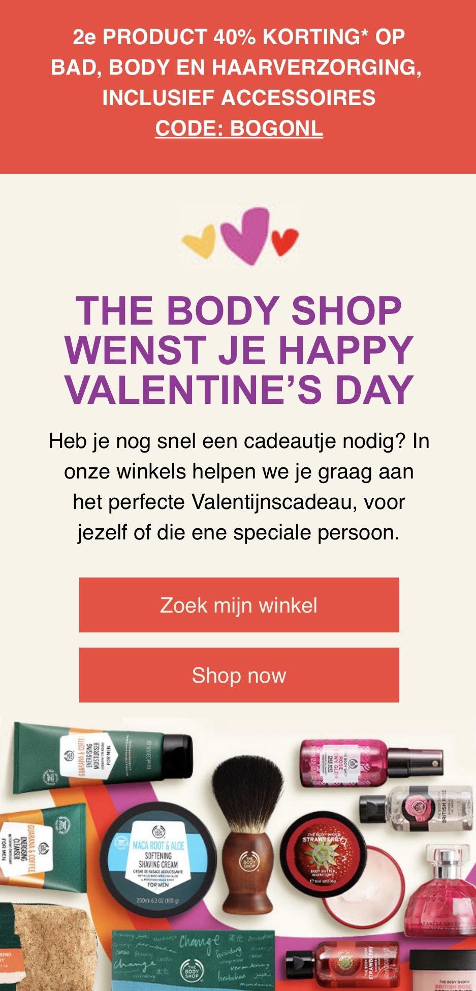 2e product : 40% korting op bodycare bij Body Shop