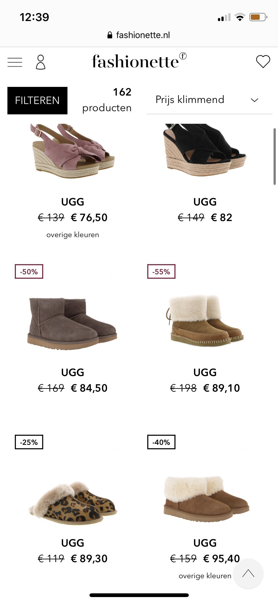 UGG korting tot wel 50%! @ Fashionette.nl