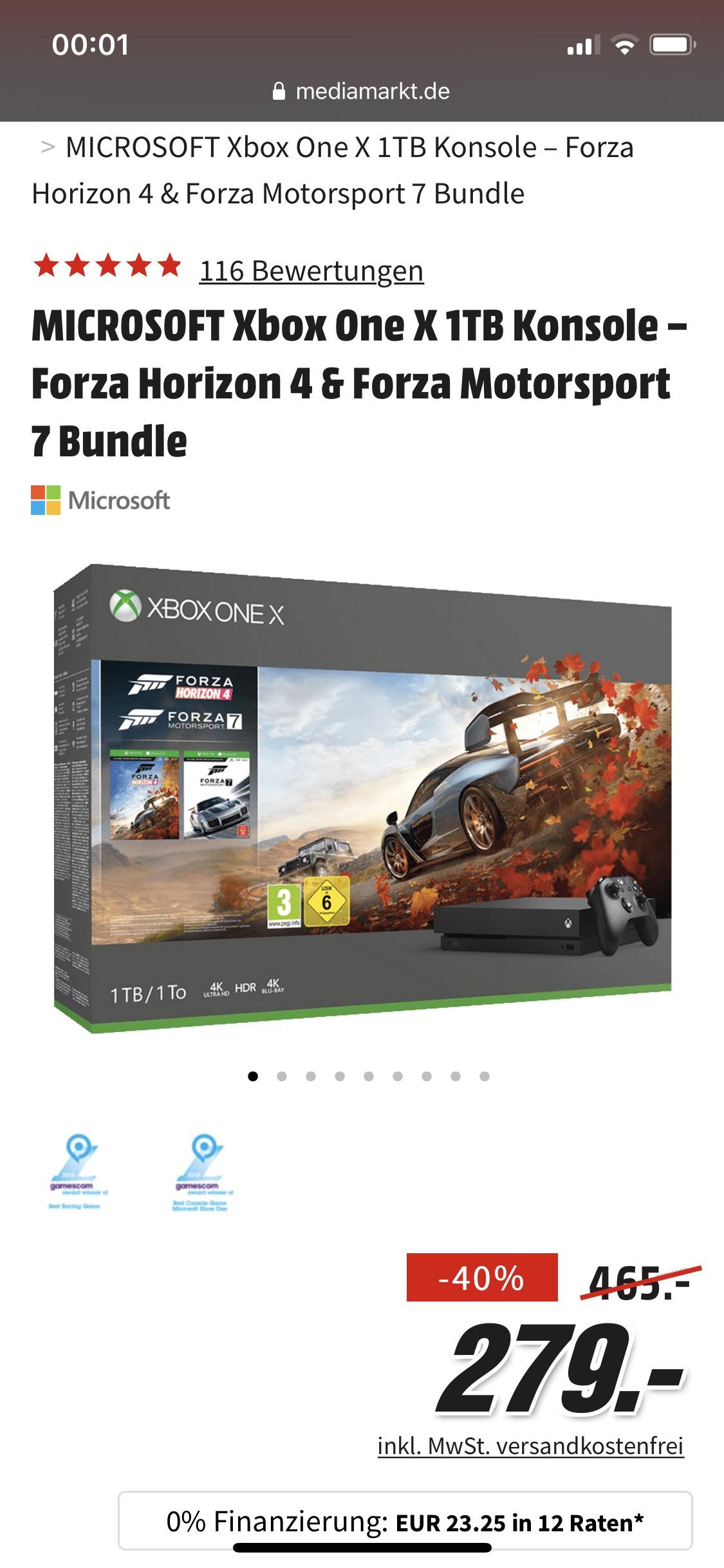 Xbox one X 1TB Forza Horizon 4 @MediaMarkt Duitsland
